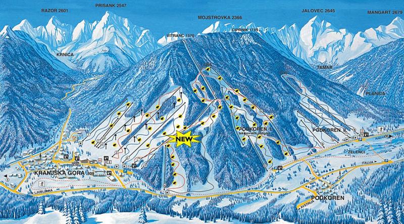 Карта склонов Краньской горы